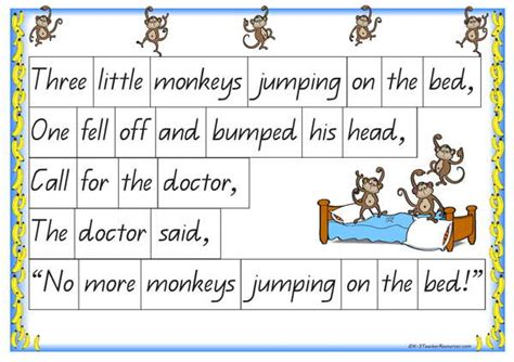 5 monkeys jumping on the bed lyrics five little monkeys jumping on the bed k 3 teacher resources