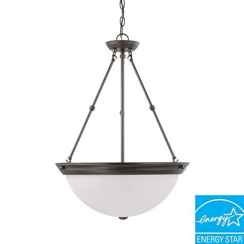 Fluorescent Pendant Lights Glomar 3 Light Mahogany Bronze Fluorescent Ceiling Pendant Hd 3343 The Home Depot