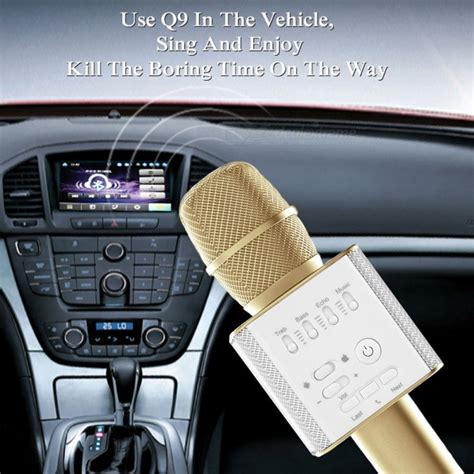 Microphone Karaoke Bluetooth For Mobil Phone Q9 q9 wireless bluetooth mobile phone karaoke microphone gold free shipping dealextreme