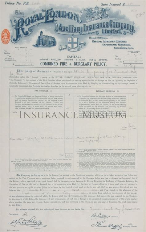 royal london house insurance royal london auxiliary insurance company 1920 04 29 policies found in the musuem of insurance