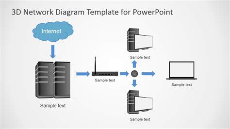 3d Computers Network Diagram For Powerpoint Slidemodel Template For Network Diagram