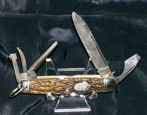 Racing Boy Handle Rem R25 remington rs4233 official scout knife c 1920 s bone stag