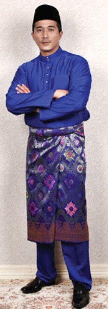 Batik Songket Black Navy baju melayu biru traditional costume