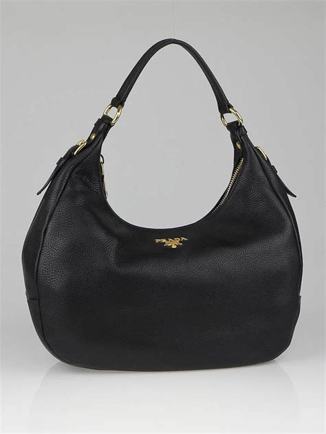 Prada Crispy Hobo Handbag by Prada Black Vitello Daino Leather Zip Top Hobo Bag Br4311