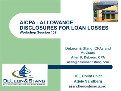 Allowance For Credit Losses Formula Aicpa Credit Union National Conference Allowance Disclosures For Cr