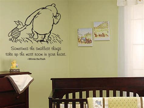 Baby Vinyl Wall Quotes classic winnie the pooh and piglet sometimes the smallest