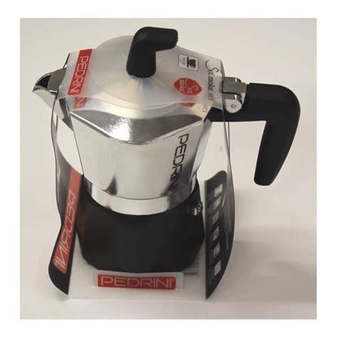 Pedrini Sei Moka Coffee Teko Kopi Moka Pot Alumunium 3 Cup Silver pedrini sei moka 6 cups espresso coffee pot polished aluminium black italian stovetop