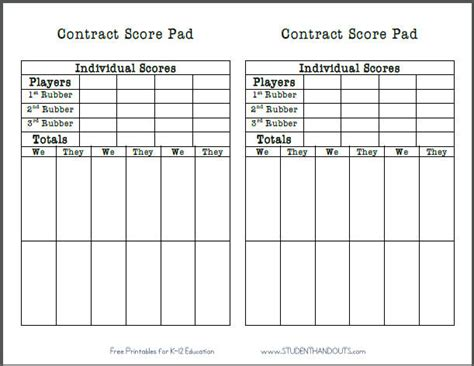 bridge score card template free printable contract bridge score sheet student handouts