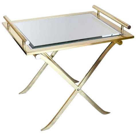 Side Bar Table by Chrome Brass And Mirror Quot X Quot Base Side Bar Table With