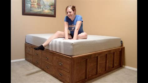 build  queen size bed  drawer storage youtube
