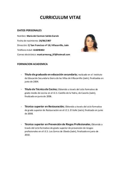 Plantilla De Curriculum Para Hosteleria Curriculum
