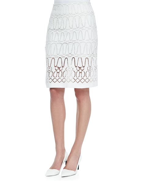 donna karan eyelet a line skirt in white lyst