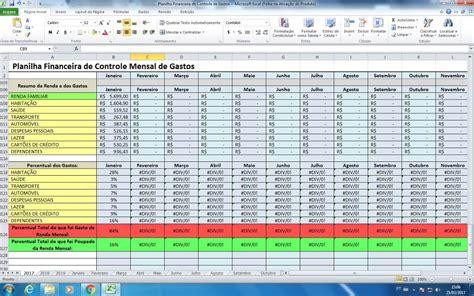 planilha  controle financeiro de gastos mensal