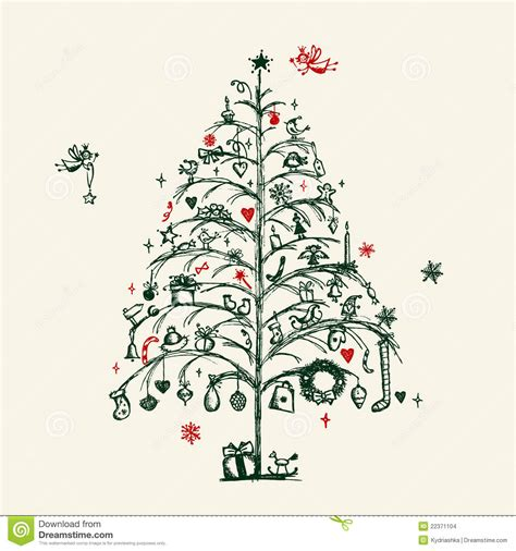 christmas tree sketch stock images image 22371104