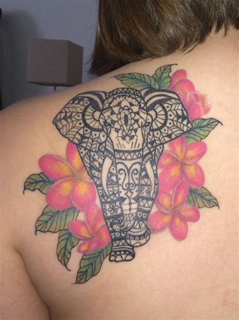 frangipani tattoos designs elephant and plumeria coverup tattoos and