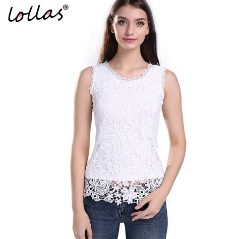 White Retro Casual Top 30025 lollas plus size new lace vintage sleeveless blouse