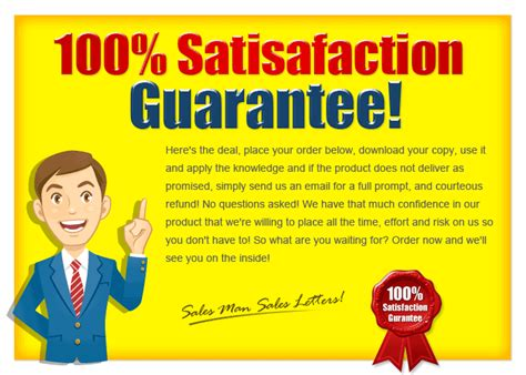 Sle Letter Money Back Guarantee Sales Sales Letters