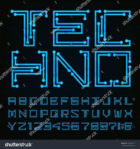 design system e font free techno type font alphabet digital hitech style stock