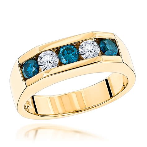 stone  carat white  blue diamond ring  gold mens
