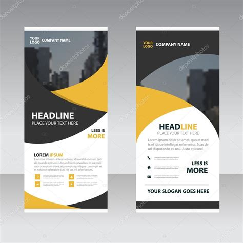 design a st template yellow black business roll up banner flat design template