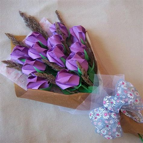 Bouquet Of Origami Roses - origami roses bouquet with dried flower purple paper gift