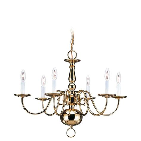Colonial Style Chandelier Sea Gull Lighting Traditional 6 Light Polished Brass Colonial Style Chandelier 3411 02 The