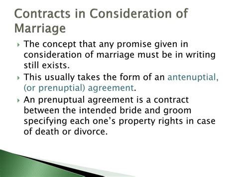 Marriage consideration agreement