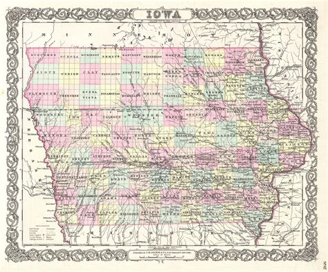 iowa maps file 1855 colton map of iowa geographicus iowa colton