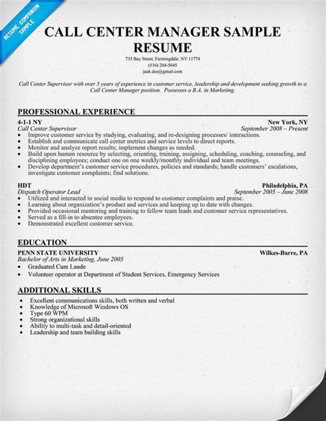 resume call center objective call center manager resume sle resumecompanion