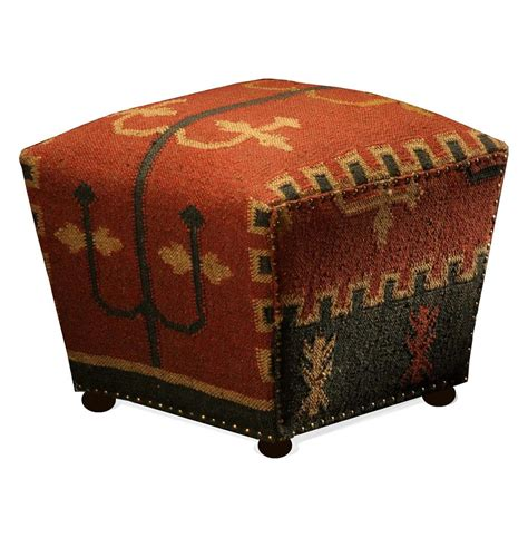 Rustic Ottoman southwestern cabin rustic lodge mtn cube kilim ottoman kathy kuo home