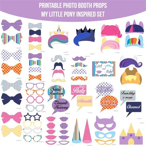 printable photo booth props pinterest instant download pony mlp my little pony inspired