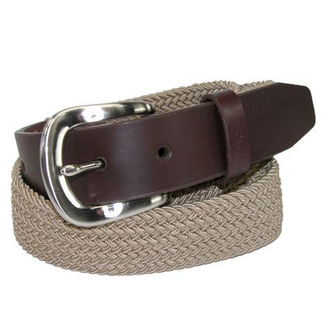 stretch elastic braided belt with leather tab ebay