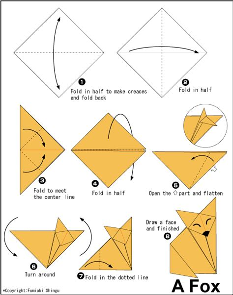 Fox Origami - fox easy origami for