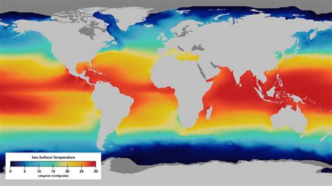 of which color the highest surface temperature sea surface temperature