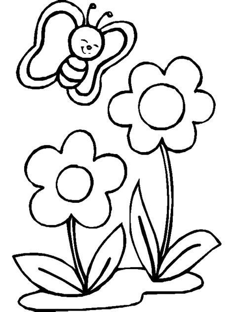 dibujo de mariposa en flores para colorear dibujo infantil de mariposas