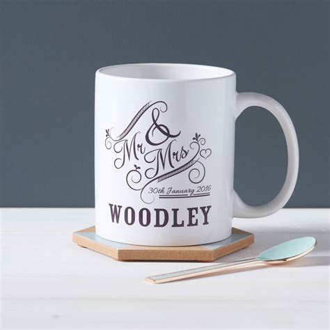 personalised mr and mrs mug by owl otter