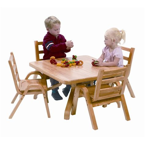 angeles naturalwood 12 quot square toddler table and chair set