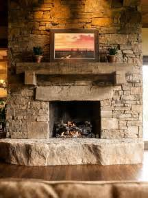 Ponderosa Floor Plan stone fireplace with timber mantle in and out fireplaces