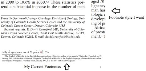 modify footnote text style wrapping the footnote text to the margins of a column