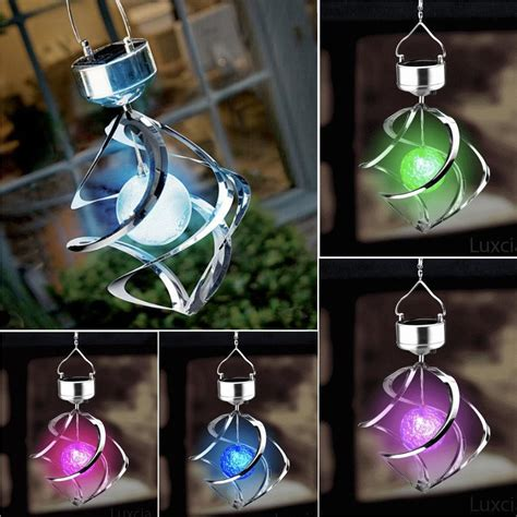 Hanging Led Lights Outdoor Solar Powered Led Wind Spinner Led Light Outdoor Garden Courtyard Hanging L Ebay