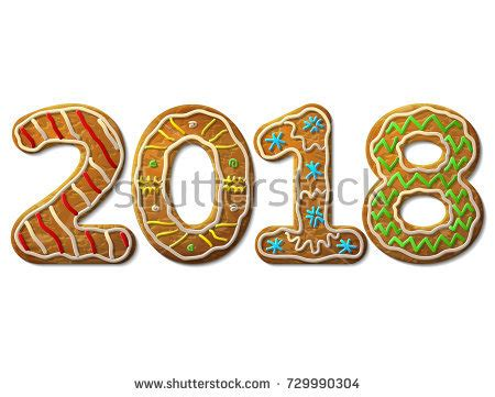 new year cookies design gingerbread decorated colored icing stock