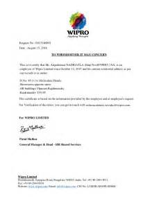 Wipro Release Letter Format Wipro Address Proof