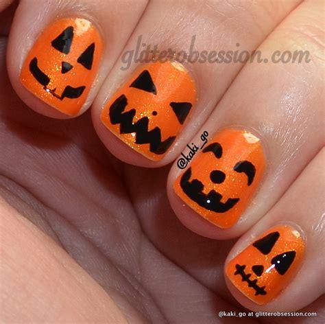 nail pumpkin glitter obsession october 2012
