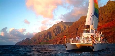 napali sunset dinner cruise blue dolphin charters - Catamaran Sunset Dinner Cruise Kauai