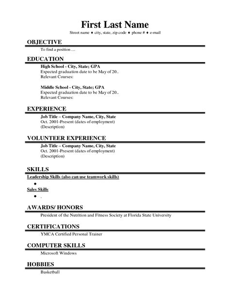 basic resume template for high school students exles of resumes best photos printable basic resume