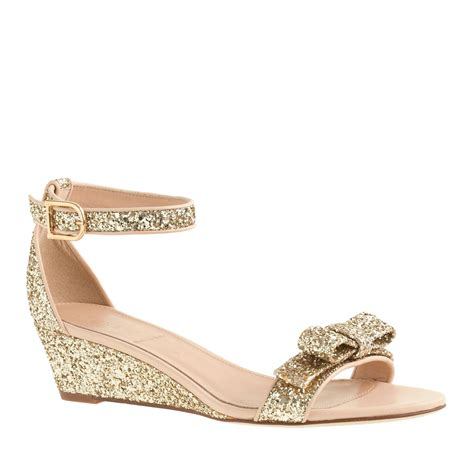 j crew lillian glitter low wedges in gold metallic gold