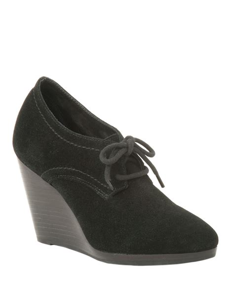 Suede Bludru Not Leather Ip55sse66s677 rogers pima suede laceup wedge booties in black black leather lyst