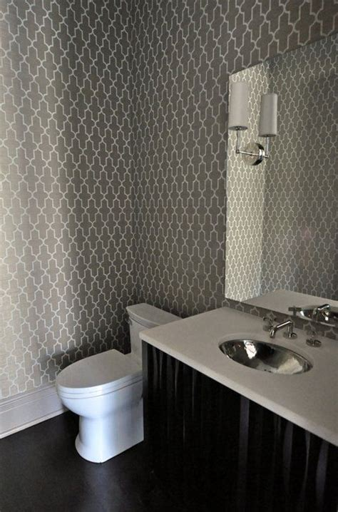 grey wallpaper for bathroom gray trellis wallpaper contemporary bathroom tamara