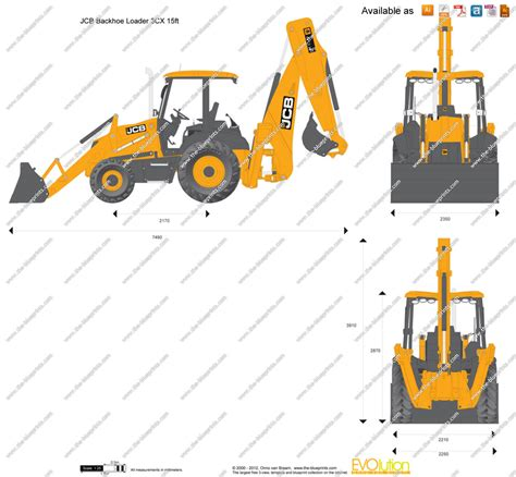 Adobe Ft by The Blueprints Com Vector Drawing Jcb 3cx 15ft Backhoe