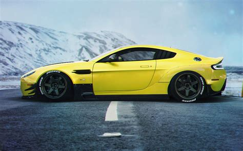 yellow side aston martin vanquish yellow supercar side view 4k iphone